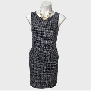 Banana Republic Navy and White Belted Dress